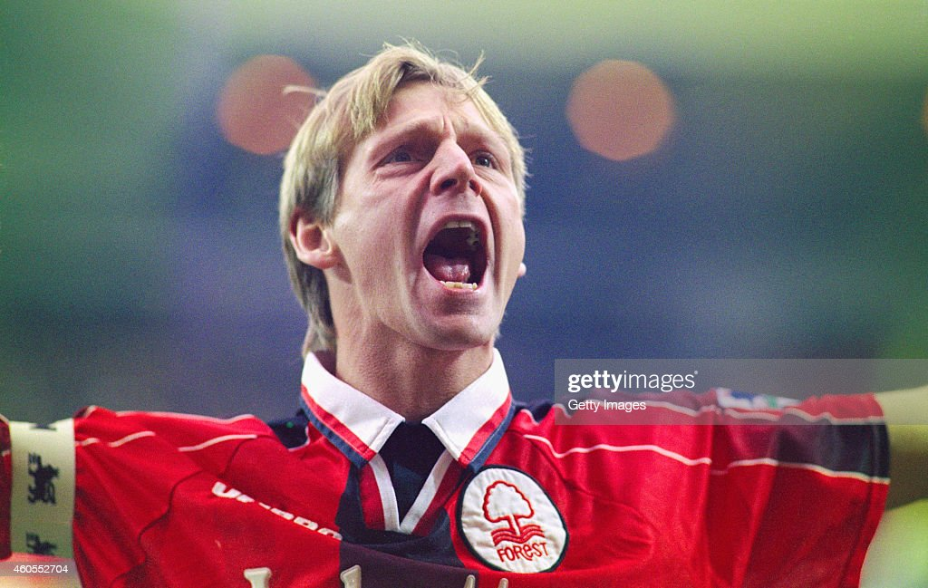 Nottingham Forest player/caretaker manager Stuart Pearce delivers his war cry to the home supporters before an FA Carling Premiership match between...