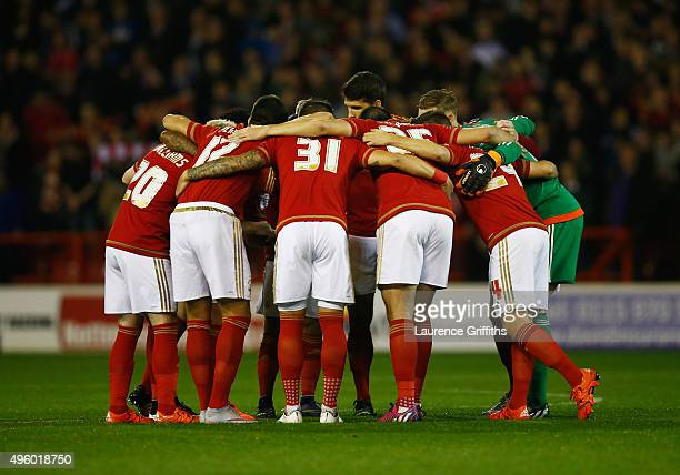 Nottingham Forest players huddle prior to the Sky Bet Championship match between Nottingham Forest and Derby County at City Ground on November 6 2015...