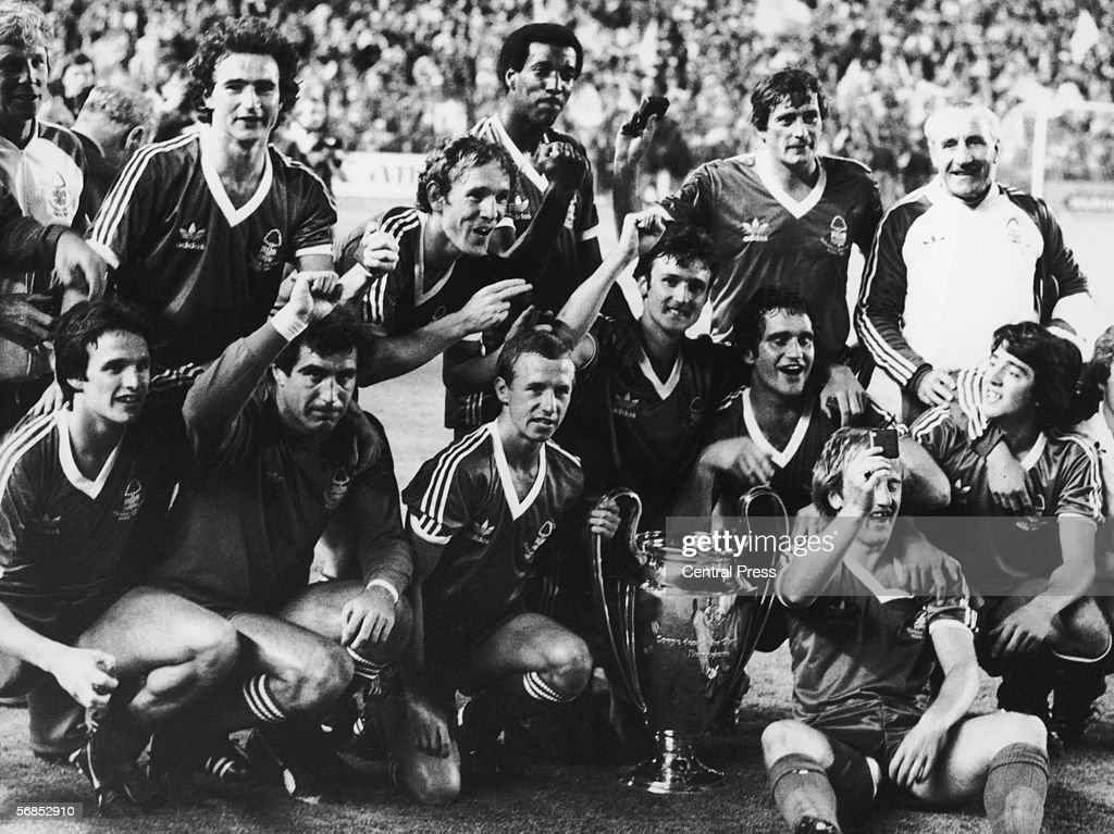 Nottingham Forest team members celebrate their second consecutive European Cup victory after beating Hamburger SV 10 in Madrid 25th May 1980 Players...