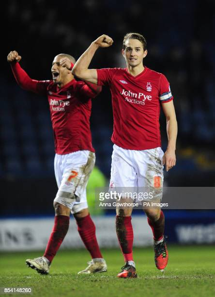 Nottingham Forest's Adlene Guedioura and Chris Cohen celebrate their victory afer the npower Football League Championship match at Hillsborough...