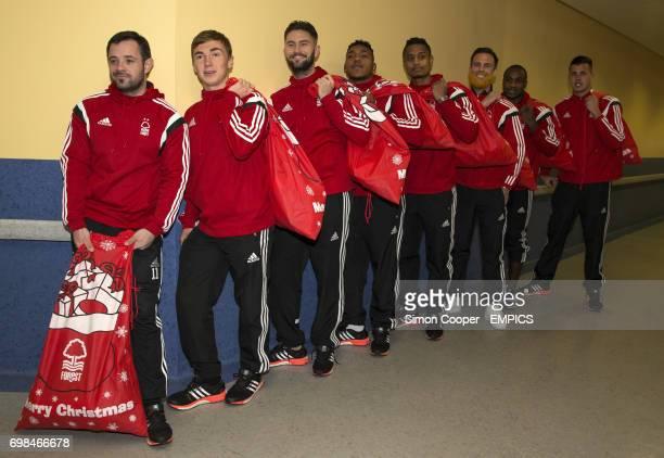 Nottingham Forest's Andy Reid Ben Osborn Henri Lansbury Britt Assombalonga Michael Mancienne Danny Fox Michail Antonio and Karl Darlow during a...