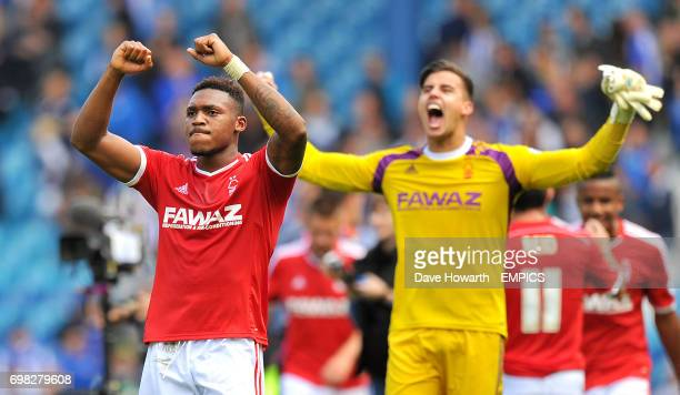 Nottingham Forest's Britt Assombalonga and goalkeeper Karl Darlow celebrate after the final whistle
