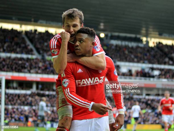 Nottingham Forest's Britt Assombalonga celebrates scoring his sides first goal of the game