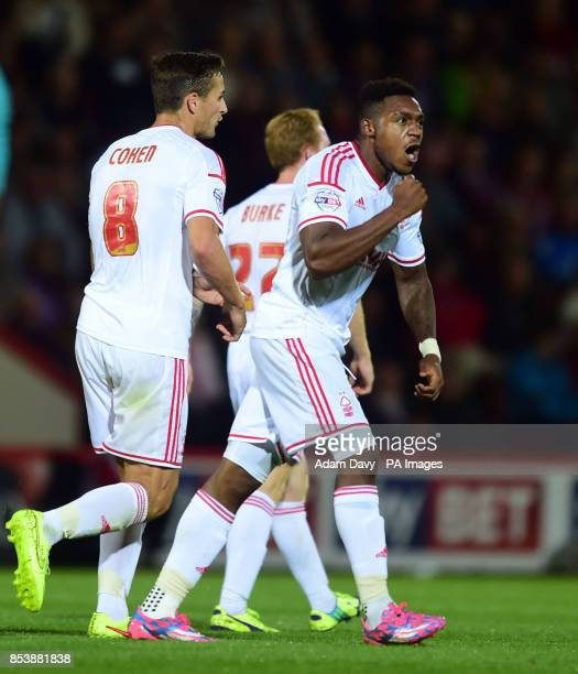 Nottingham Forest's Britt Assombalonga celebrates scoring the equalizing goal during the Sky Bet Championship match at Goldsands Stadium Bournemouth