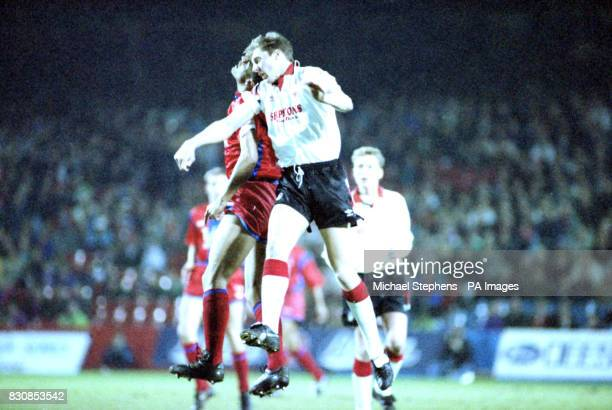 Nottingham Forest's Carl Tiler and Crystal Palace's Mark Bright both jump for the ball during the Barclays League Division One match at Selhurst Park
