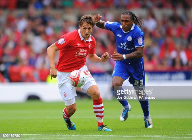 Nottingham Forest's Chris Cohen and Leicester City's Neil Danns in action