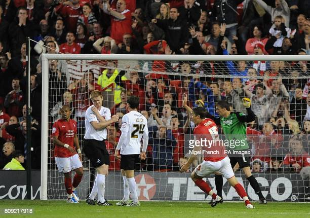 Nottingham Forest's Chris Cohen appeals for a penalty after his shot on goal hits Swansea City's Alan Tate