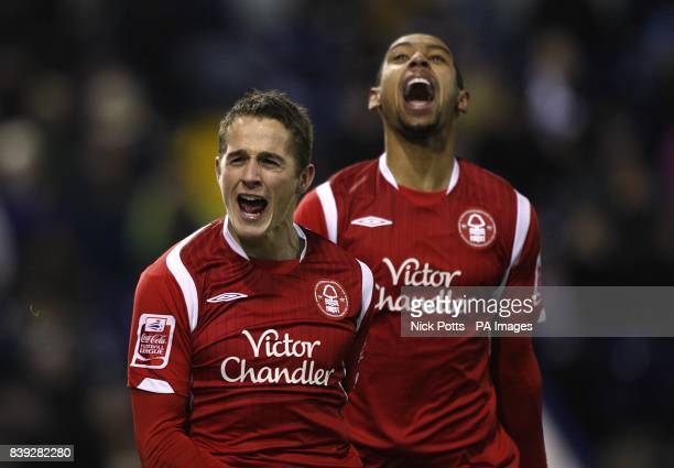 Nottingham Forest's Chris Cohen celebrates scoring his sides third goal with teammate Dexter Blackstock
