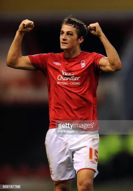 Nottingham Forest's Chris Cohen celebrates victory after the final whistle during the Npower Championship match at the City Ground Nottingham