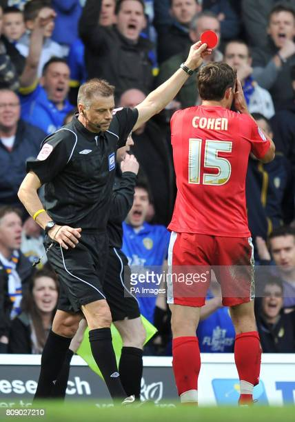 Nottingham Forest's Chris Cohen is shown the red card by referee Mark Halsey during the npower Championship match at Elland Road Leeds
