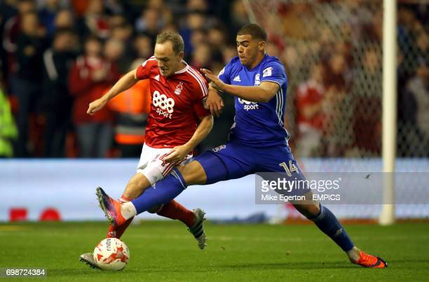 Nottingham Forest's David Vaughan and Birmingham City's Che Adams battle for the ball