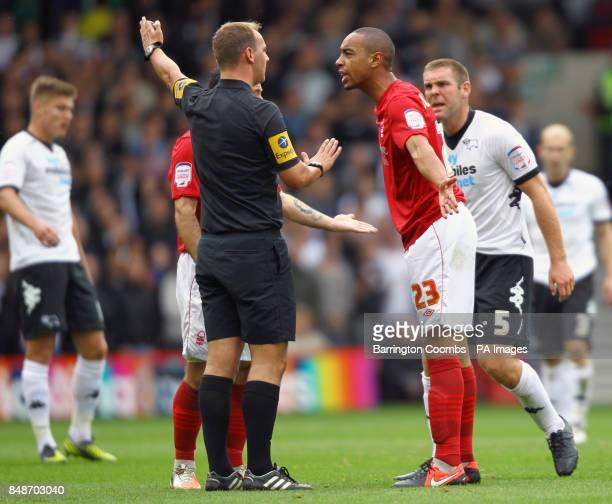 Nottingham Forest's Dexter Blackstock speaks to referee Robert Madley