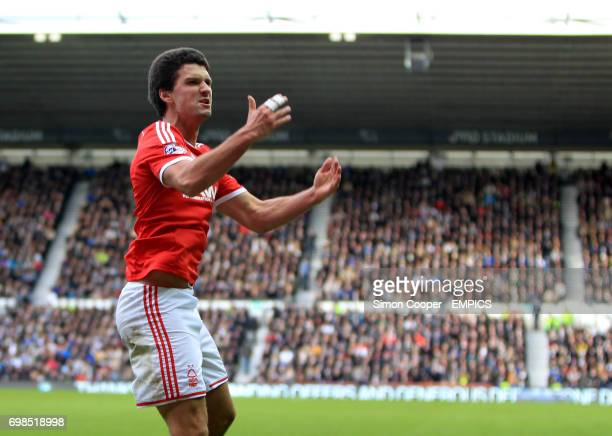 Nottingham Forest's Eric Lichaj celebrates after teammate Britt Assombalonga scores his sides first goal of the game