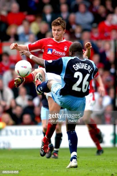 Nottingham Forest's Eugen Bopp stetches for the ball ahead of Burnley's Arthur Gnohere