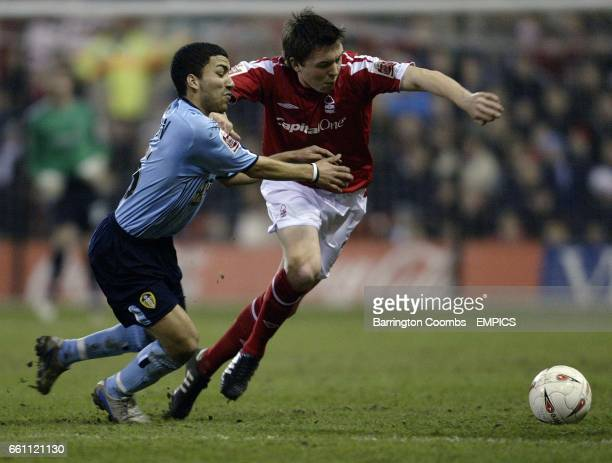Nottingham Forest's Gregor Robertson and Leeds United's Aaron Lennon battle for the ball