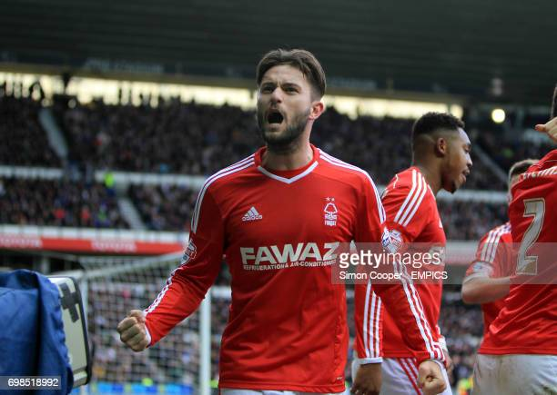Nottingham Forest's Henri Lansbury celebrates after teammate Britt Assombalonga scores his sides first goal of the game