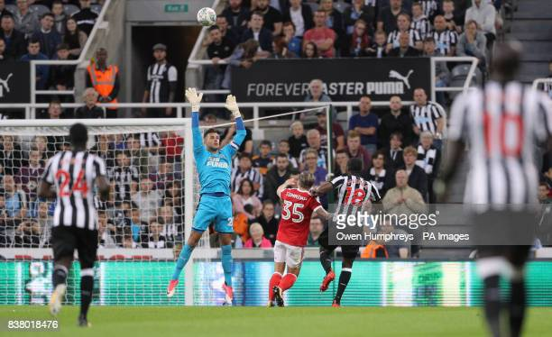 Nottingham Forest's Jason Cummings scores his side's second goal of the game during the Carabao Cup Second Round match at St James' Park Newcastle