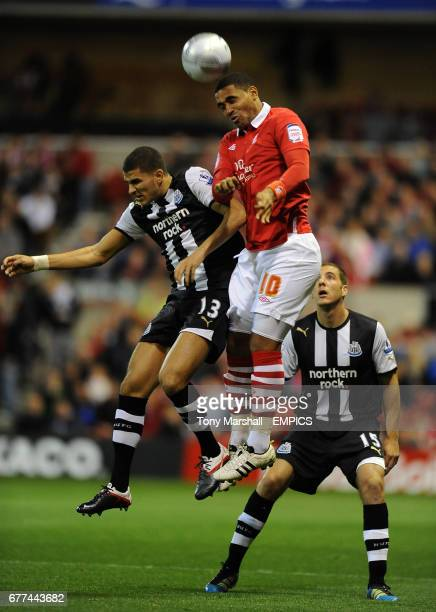 Nottingham Forest's Lewis McGugan and Newcastle United's Mehdi Abeid