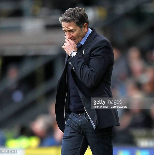 Nottingham Forest's Manager Phillippe Montanier looks dejected during the Sky Bet Championship match between Derby County and Nottingham Forest at...