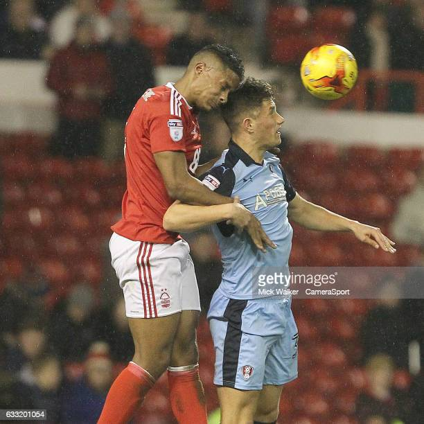 Nottingham Forest's Michael Mancienne battles with Rotherham United's Danny Ward during the Sky Bet Championship match between Nottingham Forest and...