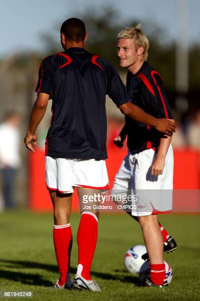 Nottingham Forest's Nathan Tyson and Ross Gardner during the pre match warm up