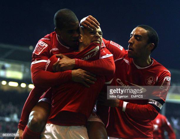 Nottingham Forest's Nathan Tyson celebrates his goal with Garath McCleary and James Perch