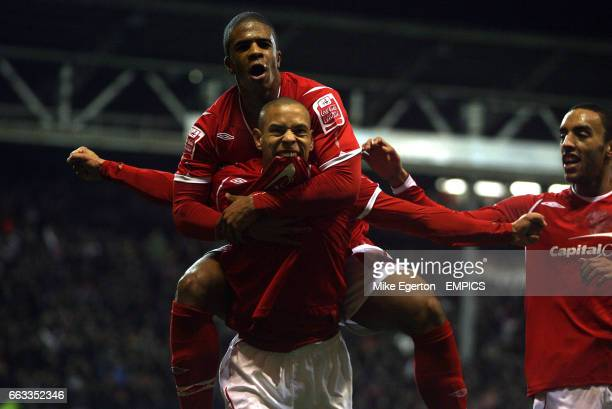 Nottingham Forest's Nathan Tyson celebrates his goal with Garath McCleary