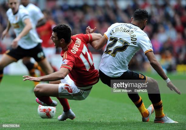 Nottingham Forest's Nelson Oliveira and Hull City's Ahmed Elmohamady