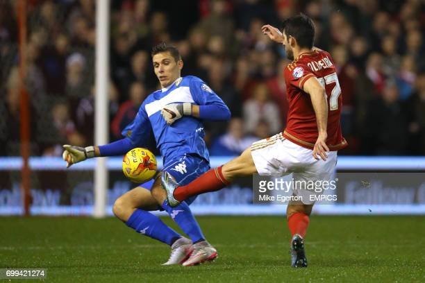 Nottingham Forest's Nelson Oliveira beats Leeds United goalkeeper Marco Silvestri to score his sides first goal of the game