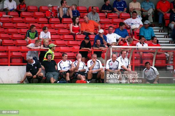 Nottingham Forest's new Manager Paul Hart sits with his two first team Coach's Liam O'Kane Ian Bowyer and Physio's Gary Fleming John Haselden