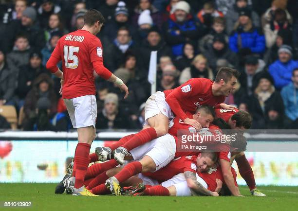 Nottingham Forest's players all celebrate Chris Cohen's opening goal during the npower Championship match at Pride Park Derby
