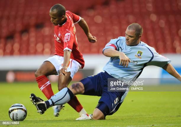 Nottingham Forest's Robert Earnshaw and Morecambe's Jim Bentley