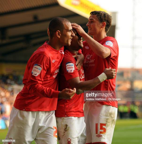 Nottingham Forest's Robert Earnshaw celebrates with team mates Marcus Tudgay and Chris Cohen after scoring their side's second goal of the game...