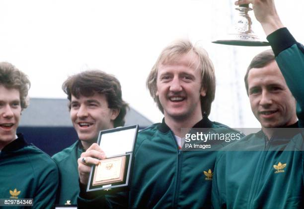 Nottingham Forest's Tony Woodcock John Robertson Kenny Burns and John McGovern celebrate winning the League Championship