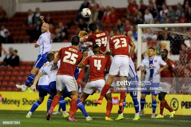 Nottingham Forest's Tyler Walker has a headed shot on goal