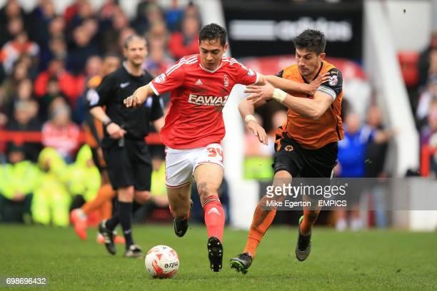 Nottingham Forest's Tyler Walker holds off Wolverhampton Wanderers' Danny Batth