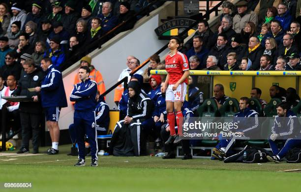 Nottingham Forest's Tyler Walker prepares to come on as a substitute for Manager Dougie Freedman