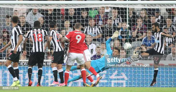 Nottingham Forest's Tyler Walker scores his side's third goal of the game during the Carabao Cup Second Round match at St James' Park Newcastle