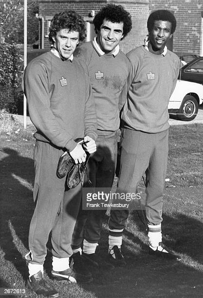 Nottingham Forest's Viv Anderson with fellow England and Forest team mates Peter Shilton and Tony Woodcock after training on the day he hears of his...