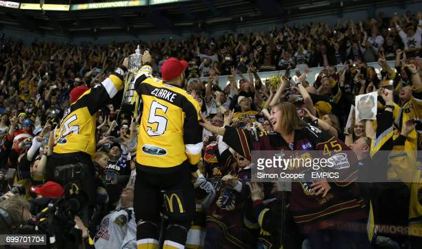 Nottingham Panthers' Cam Janssen and David Clarke celebrate winning the 2016 EIHL PlayOff Final held at the Motorpoint Arena Nottingham