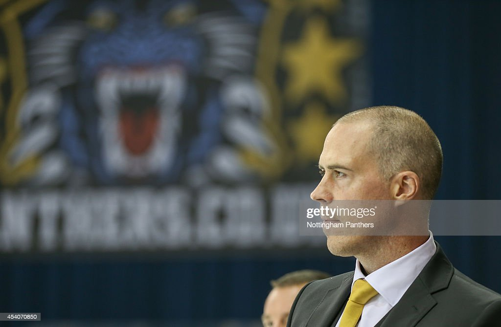 Nottingham Panthers coach Cory Neilson looks on before the Champions Hockey League group stage game between Nottingham Panthers and Lulea Hockeyat at the National Ice Centre on August 24, 2014 in Nottingham, England.