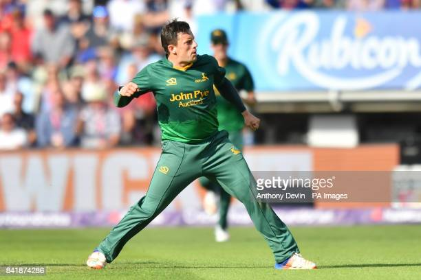 Nottingham's Steven Mullaney celebrates taking the wicket of Hampshire's George Bailey during the NatWest T20 Blast Finals Day at Edgbaston Birmingham