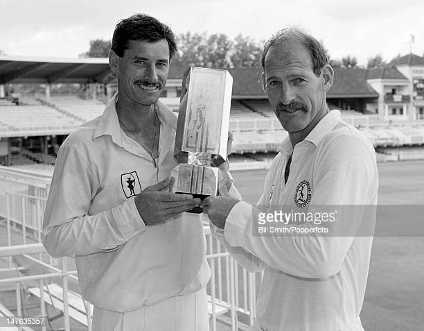 Nottinghamshire captain Clive Rice and the Man of the Match Richard Hadlee after they had beaten Northamptonshire to win the Natwest Trophy Final at...