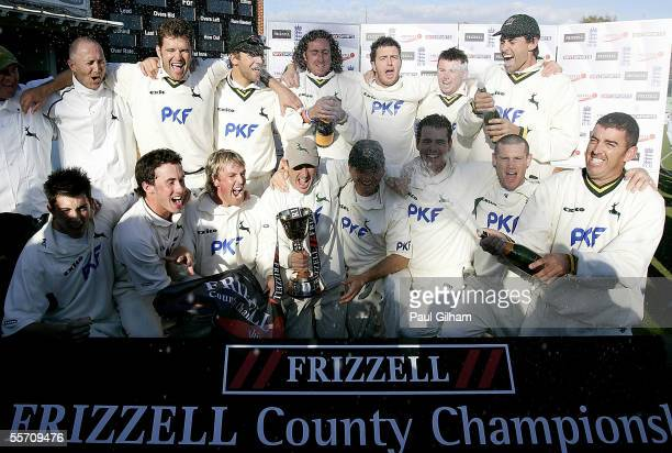 Nottinghamshire celebrate winning the Frizzell County Championship following their victory over Kent during the match between Kent and...