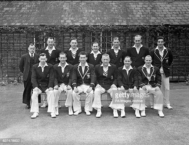 Nottinghamshire County Cricket Club back row left to right Arthur Wheat Ronald Giles Kenneth Smales Eddie Rowe Eric Martin Kenneth Poole Alan Walker...