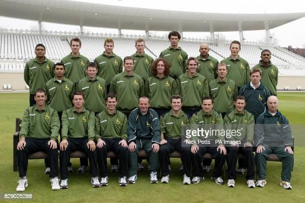 Nottinghamshire County Cricket Club during a photocall at Trent Bridge ahead of the new 2004 season Back Row L to R Ian Samit Patel Garth Clough...