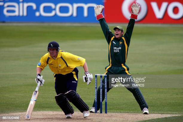 Nottinghamshire Outlaws' Chris Read appeals for the wicket of Yorkshire Phoenix's Andrew Gale