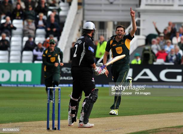 Nottinghamshire Outlaws' Harry Gurney celebrates taking the wicket of Somerset's Marcus Trescothick during the Clydesdale Bank Pro40 Semi Final match...