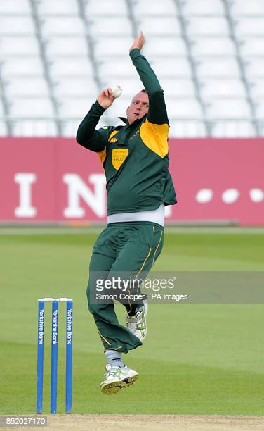 Nottinghamshire Outlaws' Luke Fletcher bowls during the Tour Match at Trent Bridge Nottingham