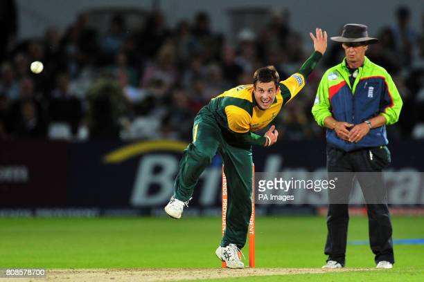 Nottinghamshire Outlaws' Steven Mullaney in bowling action